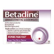 Betadine Anaesthetic Sore Throat Lozenges Berry 16 Pack