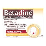Betadine Anaesthetic Sore Throat Lozenges Honey & Lemon 16 Pack