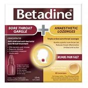 Betadine Sore Throat Gargle 15ml & 16 Lozenges Kit