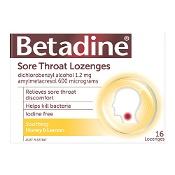 Betadine Sore Throat Lozenges Honey & Lemon 16 Pack