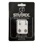 Studex Regular Birthstone April Silver Stud Earring 1 Pair