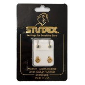 Studex Regular Birthstone March Gold Stud Earring 1 Pair