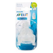 Avent Anti-Colic Teat Slow Flow 1 Month+ 2 Pack