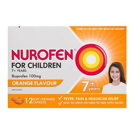Nurofen for Children Orange 12 Chewable Capsules