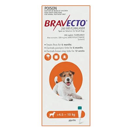 Bravecto Spot-On for Small Dog 4.5 - 10kg 1 Pack (Orange)