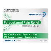 Paracetamol Pain Relief 500mg Caplets 100 Pack APOHEALTH