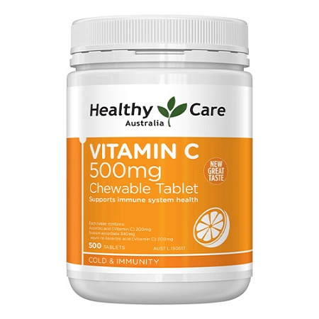 Healthy Care Vitamin C 500mg 500 Chewable Tablets