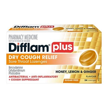 Difflam Plus Dry Cough Relief Sore Throat Lozenges Honey, Lemon & Ginger 24 Pack