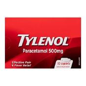 Tylenol Paracetamol 500mg 10 Caplets