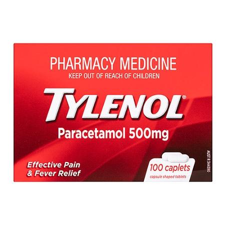 Tylenol Paracetamol 500mg 100 Caplets