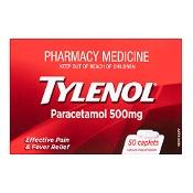 Tylenol Paracetamol 500mg 50 Caplets