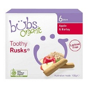 Bubs Organic Apple & Barley Lactose Free Toothy Rusk 100g