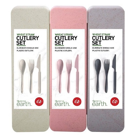 Wheat Straw Travel Cutlery Set Assorted (Colour selected at random)