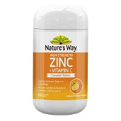 Natures Way High Strength Zinc + Vitamin C 60 Chewable Tablets