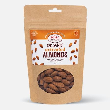 2Die4 Activated Organic Vegan Almonds 120g