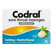 Codral Sore Throat Lozenges Antibacterial Menthol 16 Pack