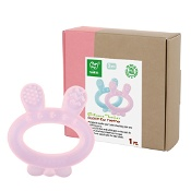 Haakaa Silicone Baby Teether Rabbit Pink