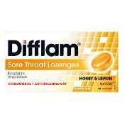 Difflam Sore Throat Lozenges Honey & Lemon Sugar Free 16 Pack
