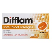 Difflam Sore Throat Lozenges Orange Sugar Free 16 Pack