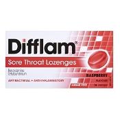 Difflam Sore Throat Lozenges  Raspberry Sugar Free 16 Pack