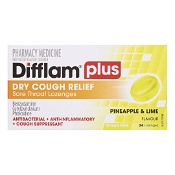 Difflam Plus Dry Cough Relief Sore Throat Lozenges Pineapple & Lime 24 Pack