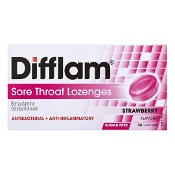 Difflam Sore Throat Lozenges  Strawberry Sugar Free 16 Pack
