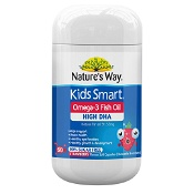 Natures Way Kids Smart Omega 3 Fish Oil High DHA Strawberry 50 Capsules