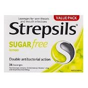 Strepsils Lozenges Sugar Free Lemon 36 Pack
