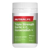 Nutra-Life Triple Strength Garlic + C, Horseradish + 100 Capsules