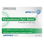 APOHEALTH Paracetamol Pain Relief 500mg 100 Tablets Bottle