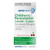 APOHEALTH Childrens Paracetamol 1 Month - 2 Years 20ml