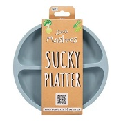 Little Mashies Silicone Sucky Platter Plate Dusty Blue