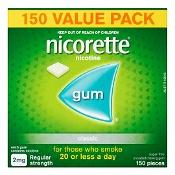 Nicorette Nicotine Quit Smoking Gum Regular Strength 2mg Classic 150 Pack