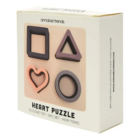 Annabel Trends Baby Silicone Puzzle Heart 12cm x 4.5cm