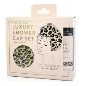 Luxury Shower Gel & Cap Gift Set Leopard
