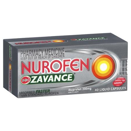 Nurofen Zavance Liquid Capsules 40 Capsules (Exp: September 2021, no refunds or exchanges)