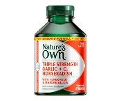 Natures Own Triple Strength Garlic+C, Horseradish 150 Tablets
