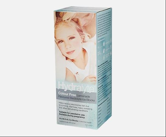 Hydralyte Electrolyte Ice Blocks Colour Free Lemonade 62.5ml x 16 Pack